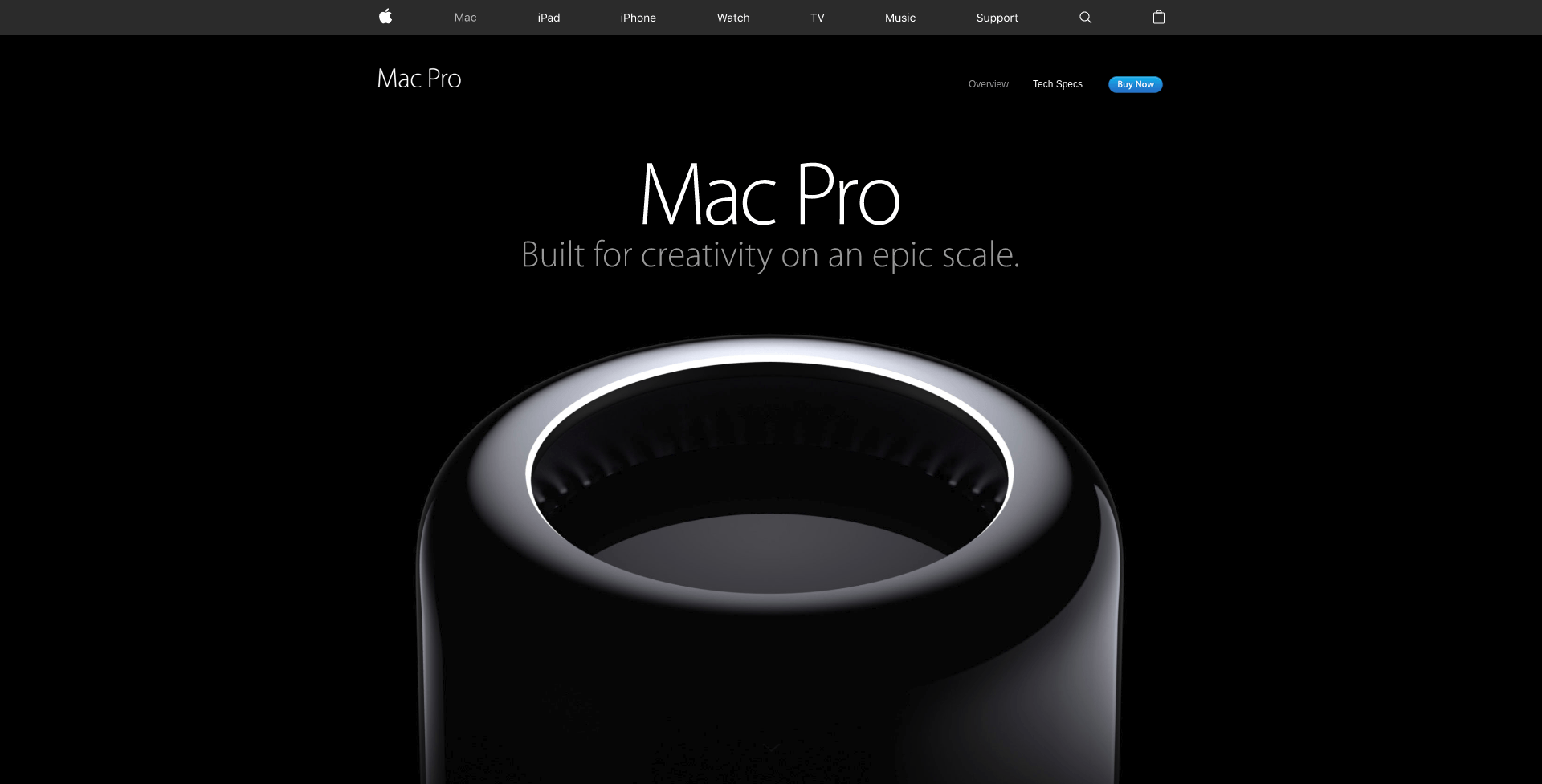Black background design example - Mac Pro web presentation