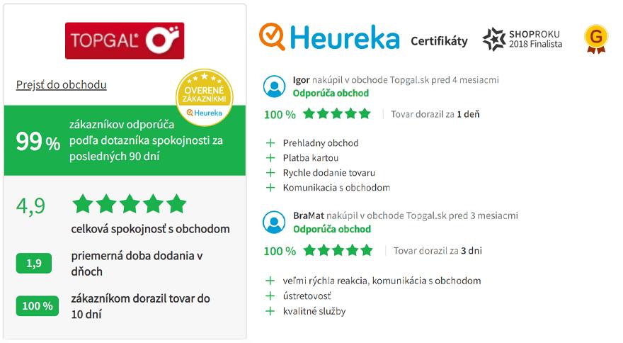 Recenzie zákazníkov www.Topgal.sk na Heureka.sk