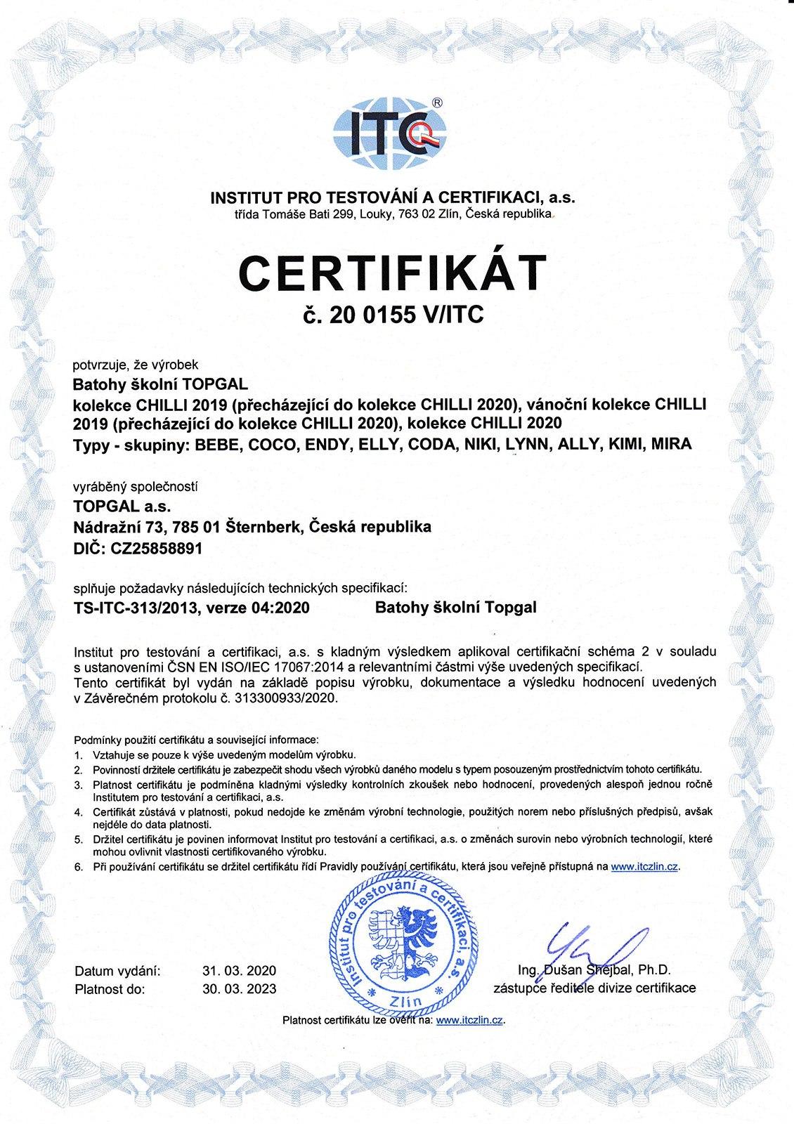 Plecaki TOPGAL z certyfikatem - 01
