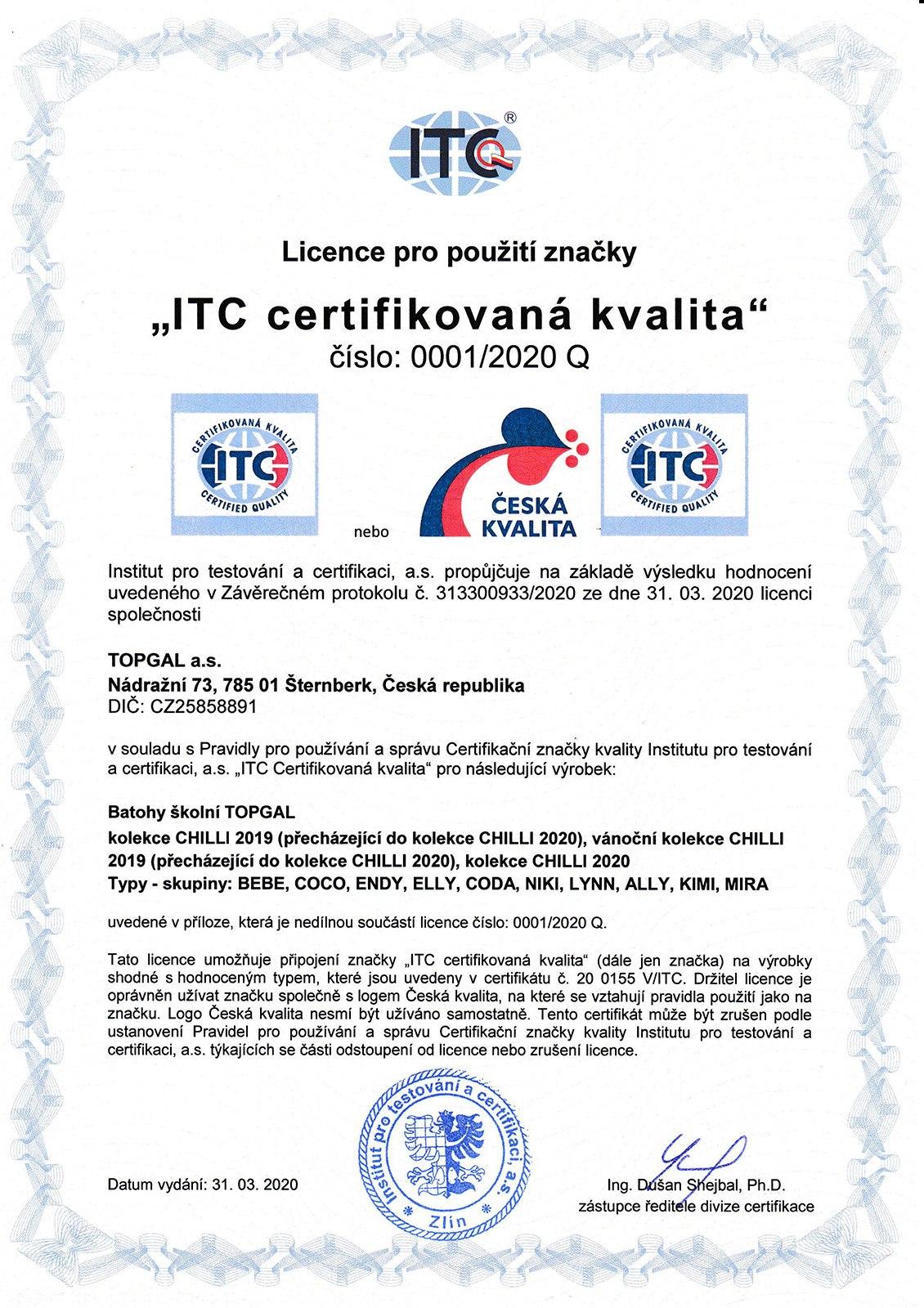 Plecaki TOPGAL z certyfikatem - 02